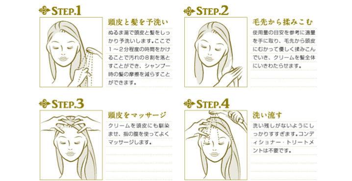 クレムドアン 使い方は毛先から揉み込んで頭皮をマッサージするだけ
